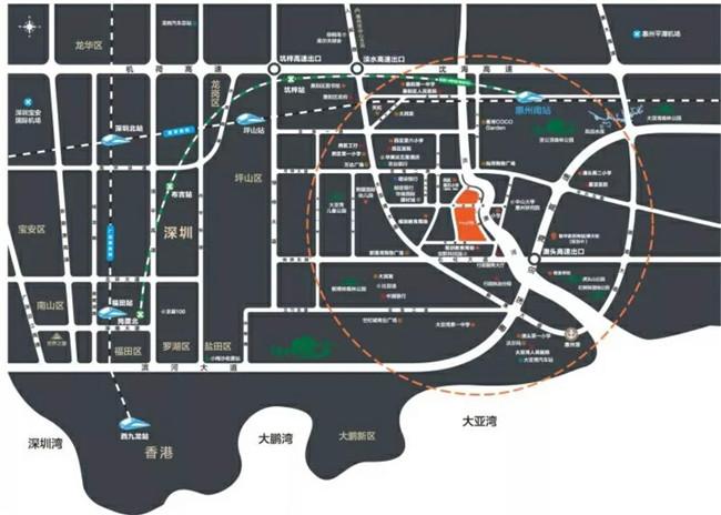 大亚湾豪利天汇 0距离万达,距离惠州南站3公里 90-135平渠道客户送3年管理费