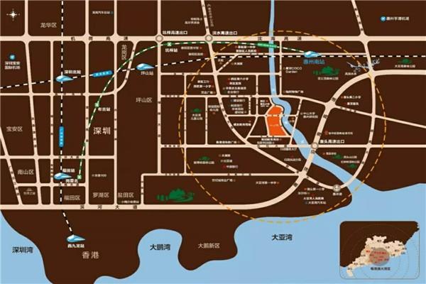 豪利天汇到大亚湾儿童公园 万达广场,惠亚医院,惠州南站,高速澳头出口多少公里,