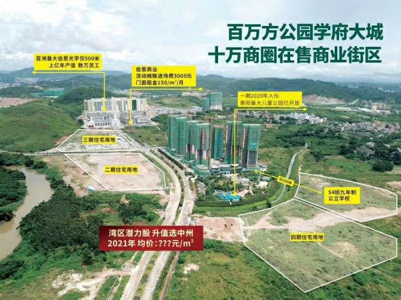 中洲•公园城项目(备案名:河谷花园)54班公立中洲实验学校已经规划通过,去惠州南站新城的道路施工中